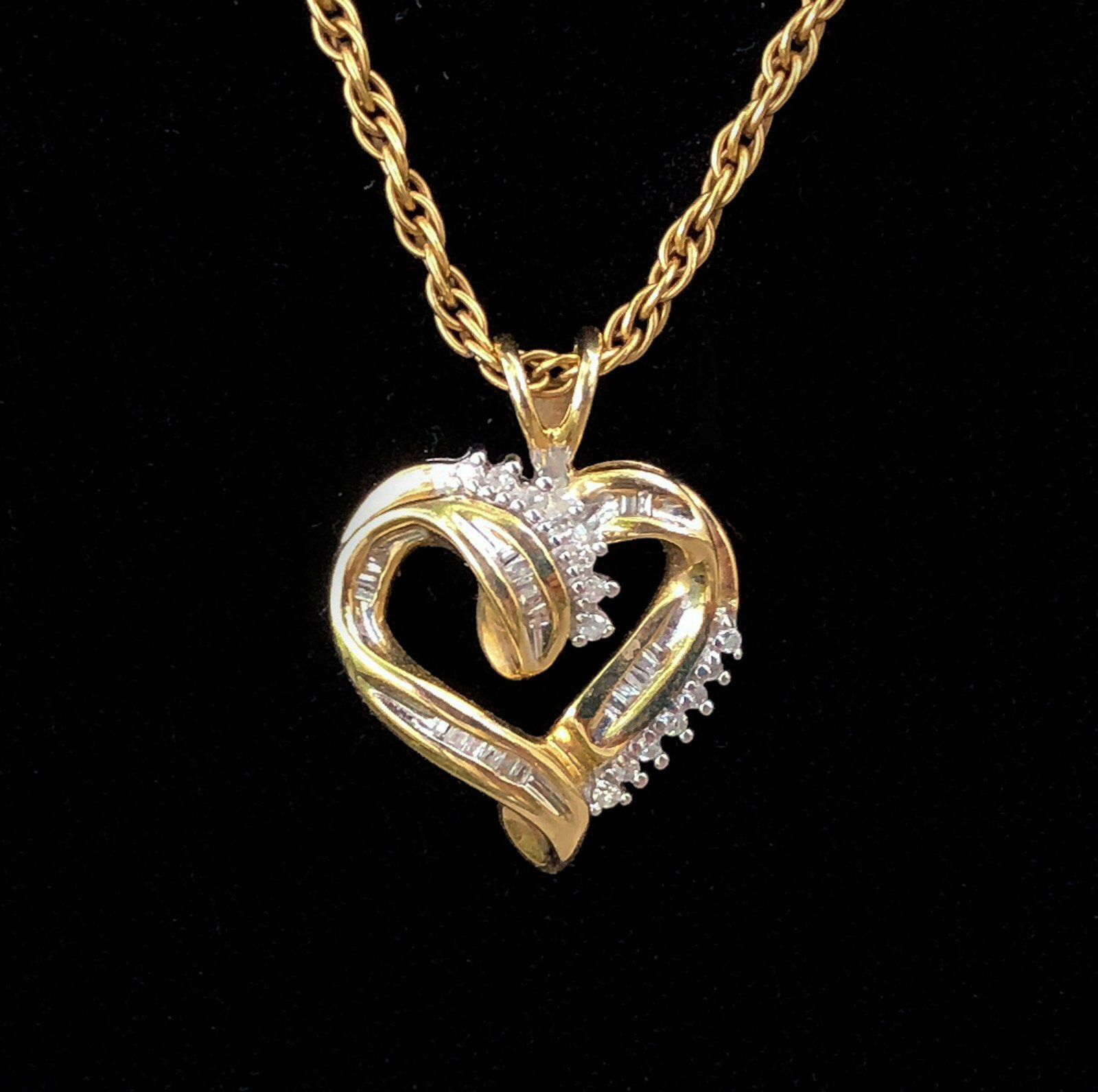Vintage 10k Open Heart Pendant Yellow Gold With Diamond Chips Etsy Heart Pendant Gold Heart Pendant Gold Filled Chain