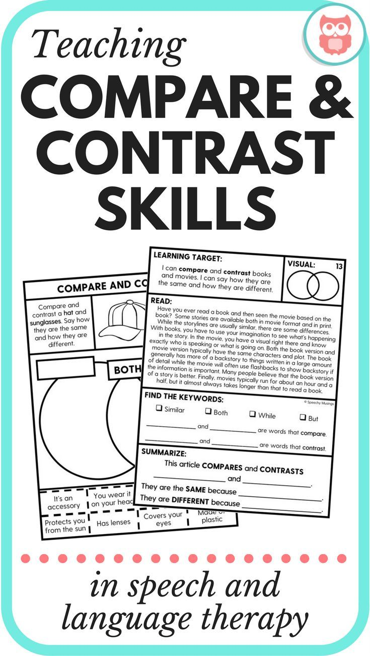 Tons of ideas for teaching compare and contrast skills in speech and language therapy. Perfect for therapists in middle school working on higher level language skills. From Speechy Musings.