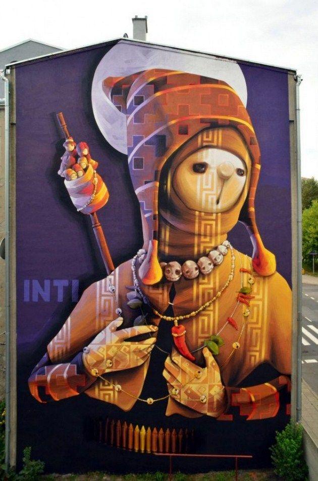 Inti Holy Warrior Nowy Mural W Lodzi Street Art Street Art