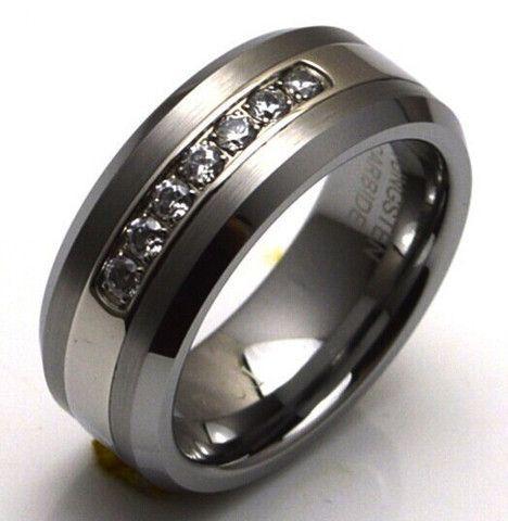 Elixt Wedding Ring Tungsten Carbide Band With 7 Diamond Cz Down The Center