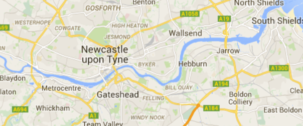 Map showing the locations of Newcastle upon Tyne and Gateshead