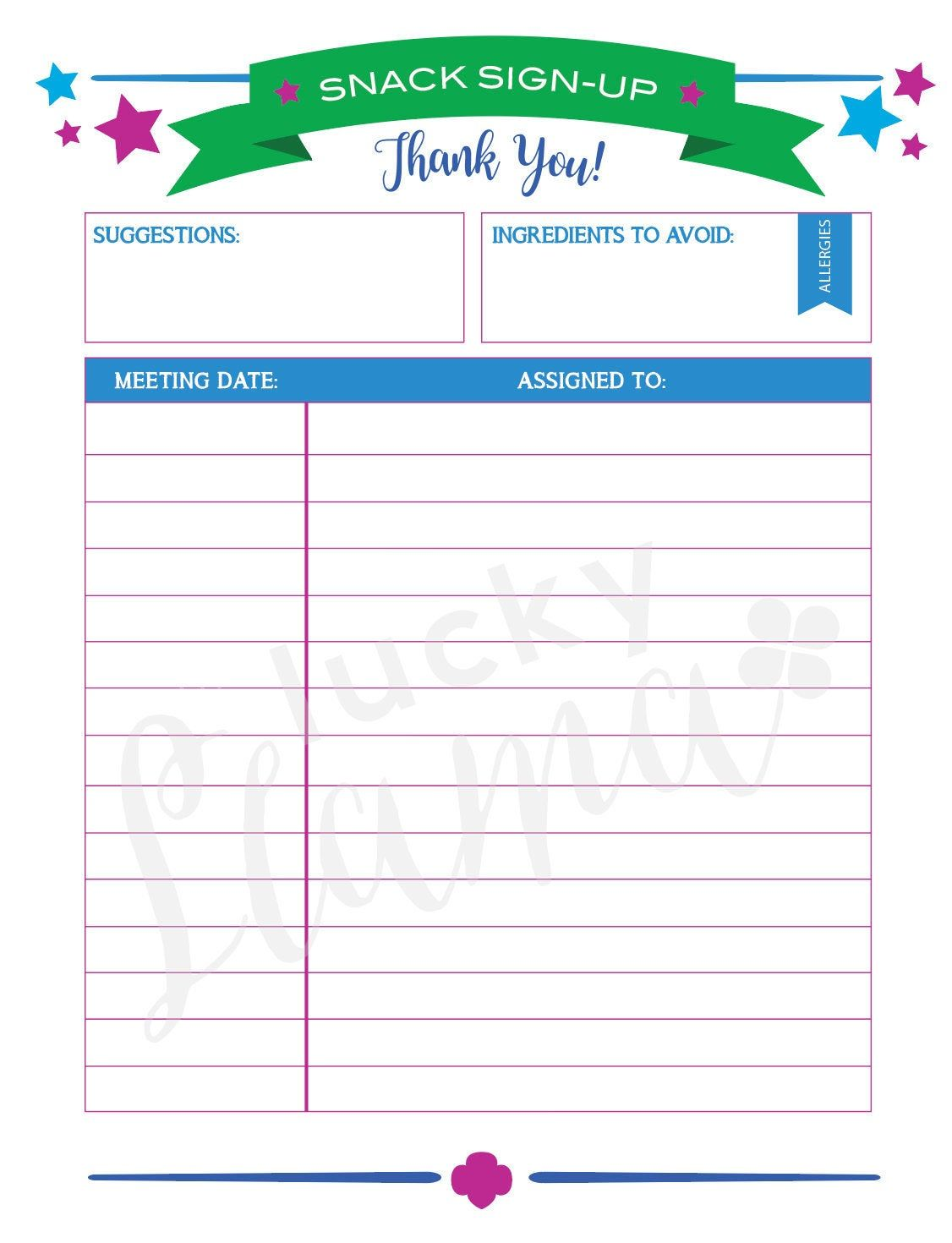 Printable Girl Scout Snack Sign Up In 2021 Meeting Agenda Template Agenda Template Girl Scouts Snack sign up sheet template