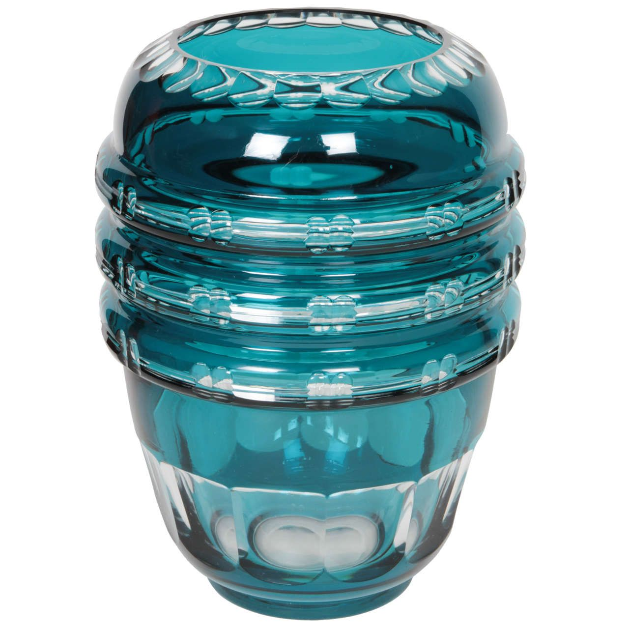 Turquoise Cut Crystal Vase by Val Saint Lambert | From a unique collection of antique and modern vases at http://www.1stdibs.com/furniture/dining-entertaining/vases/