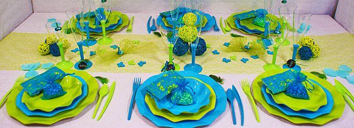 d coration de table turquoise et vert id e d co table. Black Bedroom Furniture Sets. Home Design Ideas