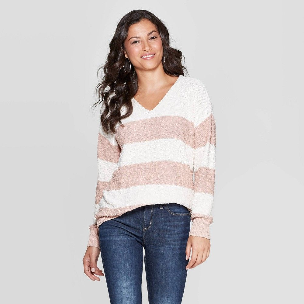 Women\u0027s Striped Long Sleeve V,Neck Pullover Sweater , Knox