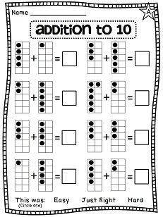 first grade math unit 3 addition to 10 ten frames worksheets and students. Black Bedroom Furniture Sets. Home Design Ideas
