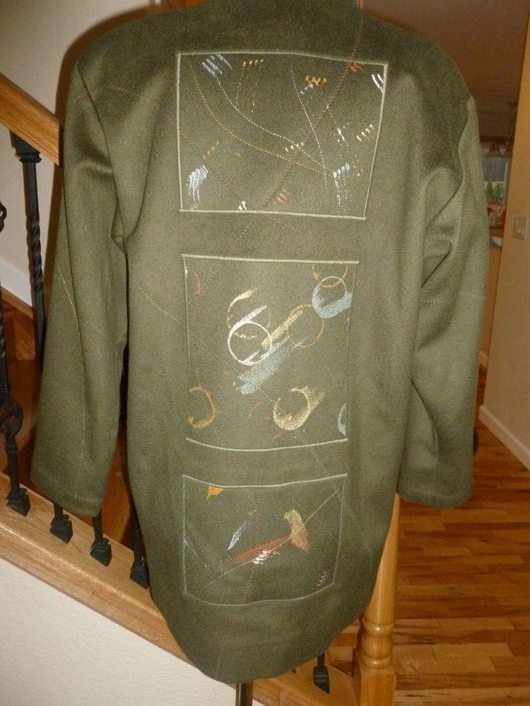 Vintage MARY LOU OZBOLT-STORER FIBREARTS MERINO WOOL Painted COAT Jacket sz S P #FibreartsInc #BasicCoat