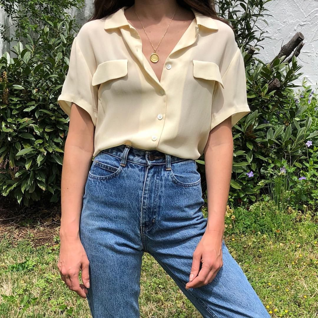Vintage Sweet Cream Silk Button Up Short Sleeve Shirt Outfit Women Aesthetic Shirts Minimal Outfit