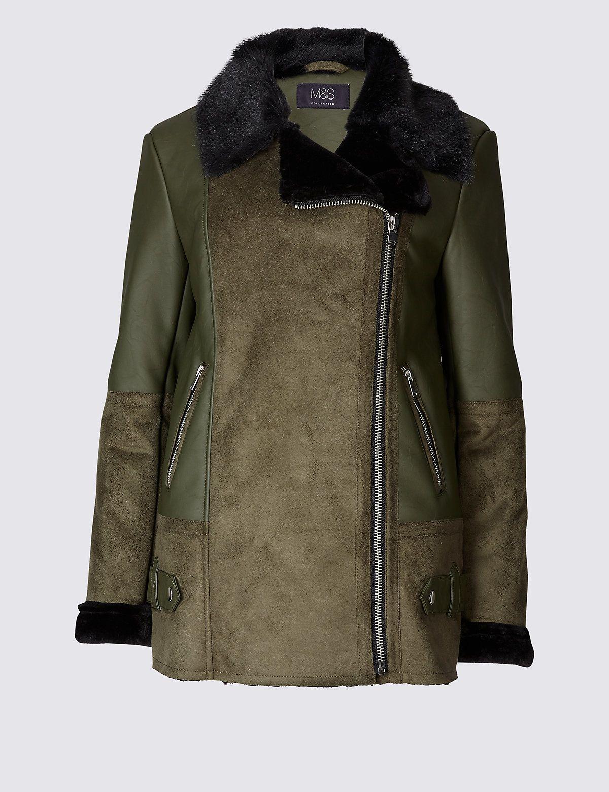 Faux Leather Shearling Jacket Shearling jacket, Jackets