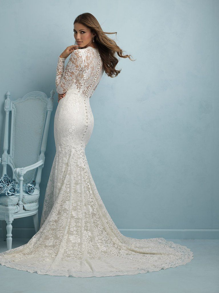 Allure Bridals 9213 Long Sleeve Lace Fit Flare Wedding Dress