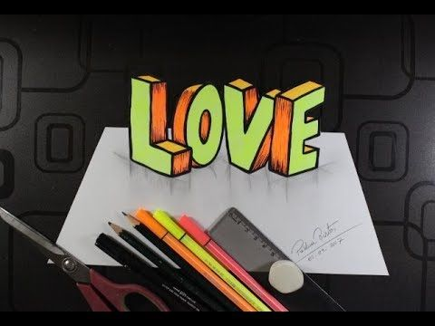 Como Desenhar Love Em 3d Super Fácil Passo A Passo