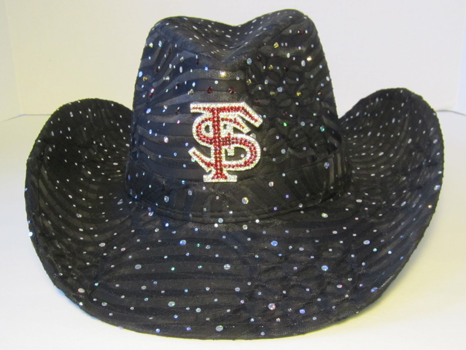 5b32a1121d6de FSU Cowgirl hat -  59.95 each Black fabric sequin Cowgirl hat with a  rhinestone FSU pin on the front and Swarovski dark red   metallic gold  crystals on the ...