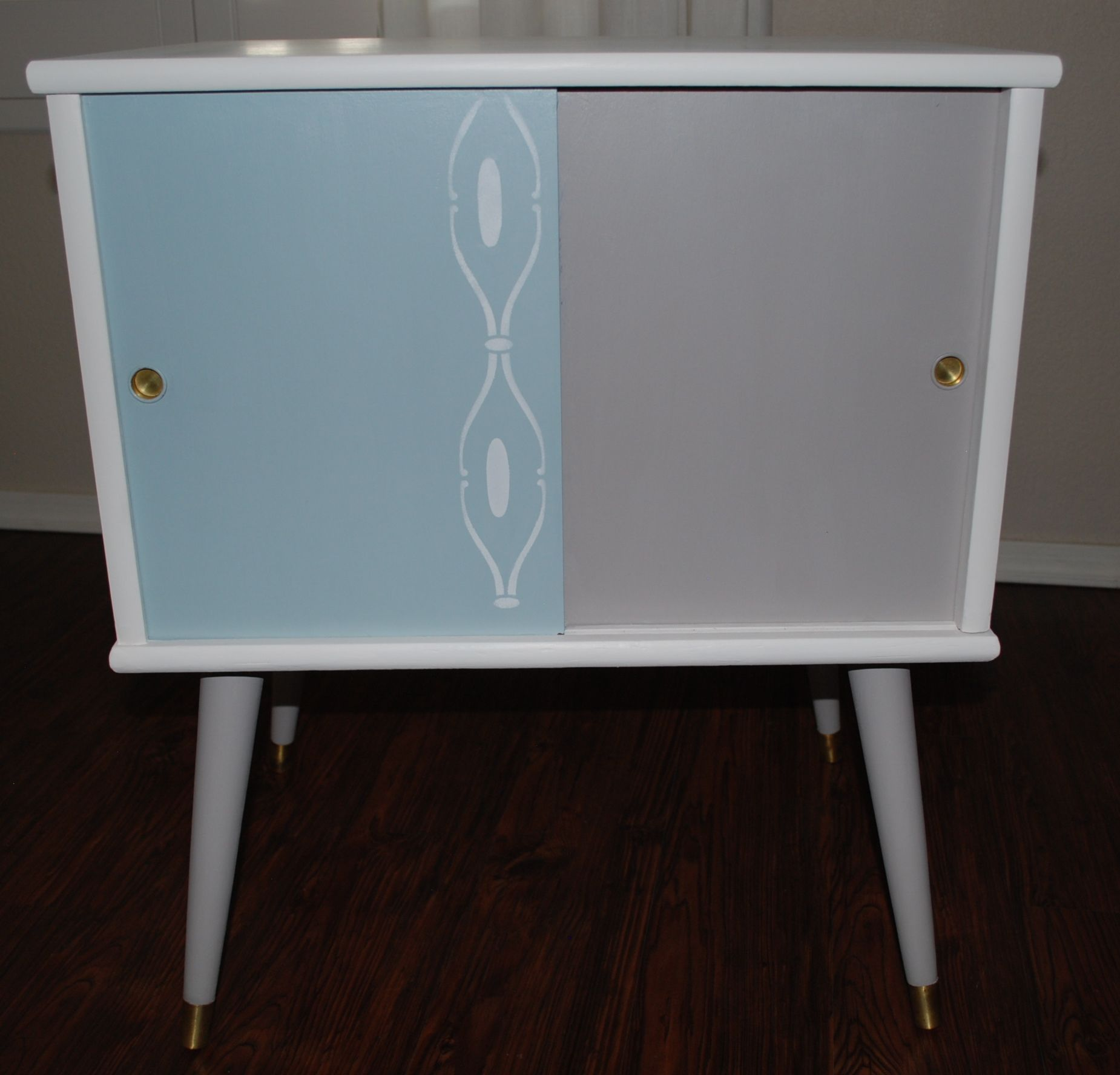 1960s Record Cabinet 1960s Vinyl Record Cabinet Re Imagined In Blue White And Grey