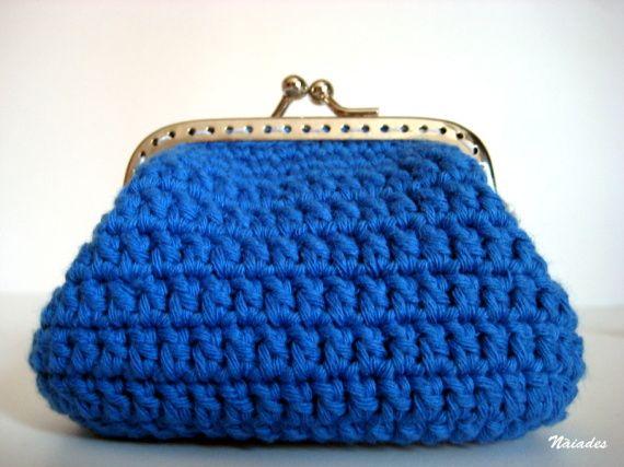 monedero ganchillo azul bolsos y carteras monederos