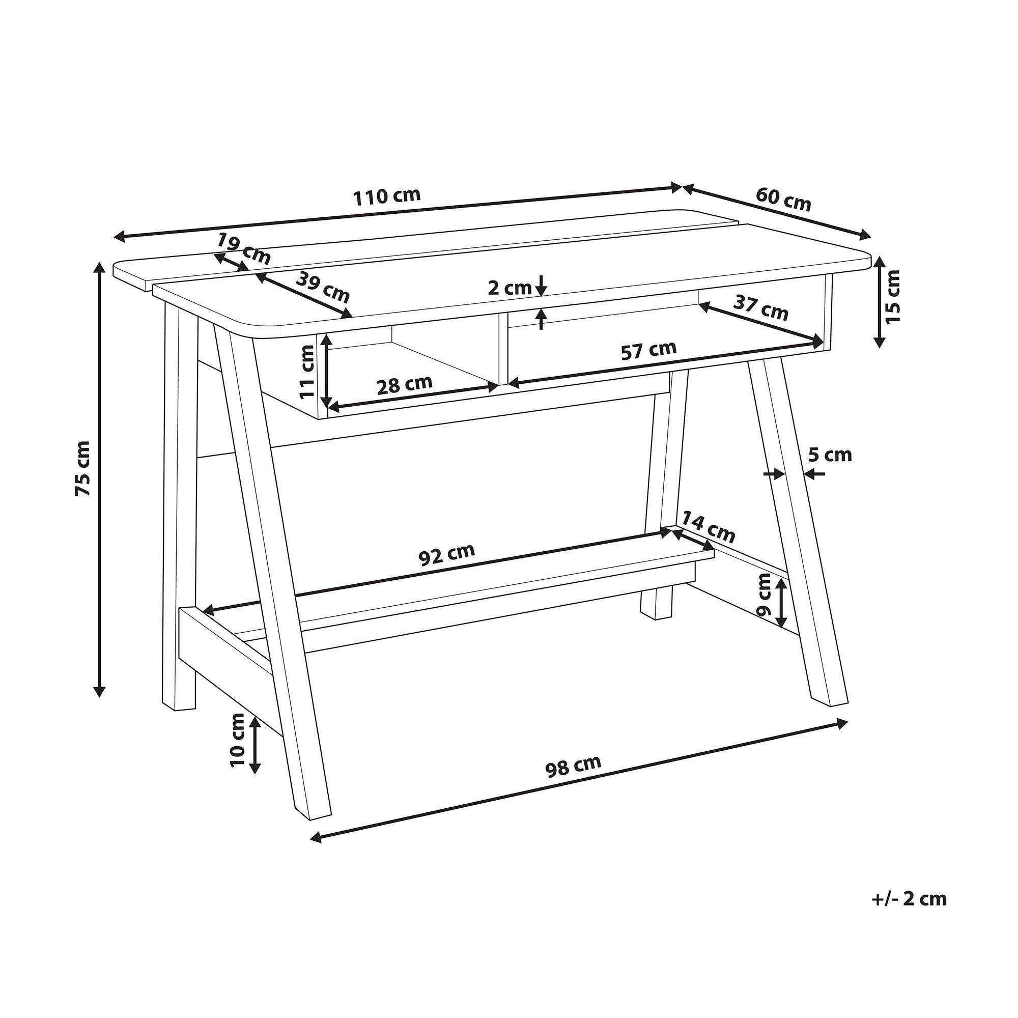 Schreibtisch Heller Holzfarbton Weiss 110 X 60 Cm Jackson In 2020 Home Decor Storage Decor