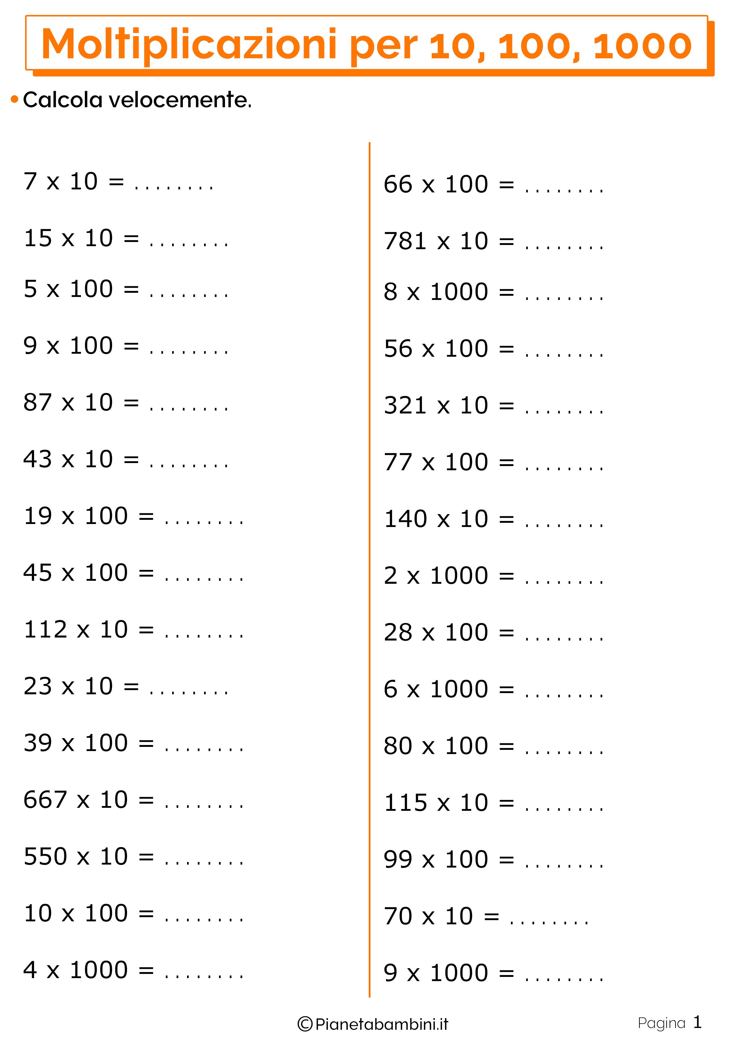 Moltiplicazioni Per 10 100 E Esercizi Per La Scuola