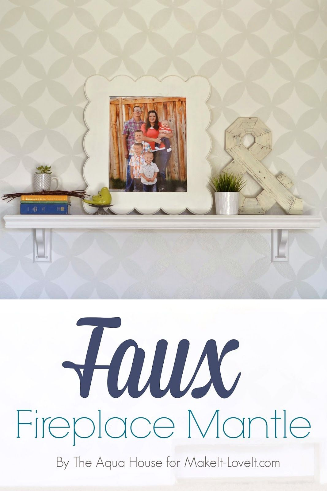 Faux fireplace mantle for those without a fireplace diy