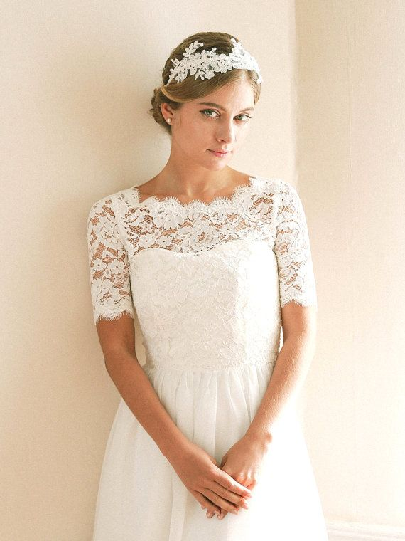 Delicate floral alecone lace topper is a romantic bridal cover up ...