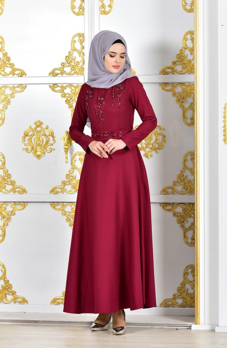 Claret red islamic clothing evening dress dream list