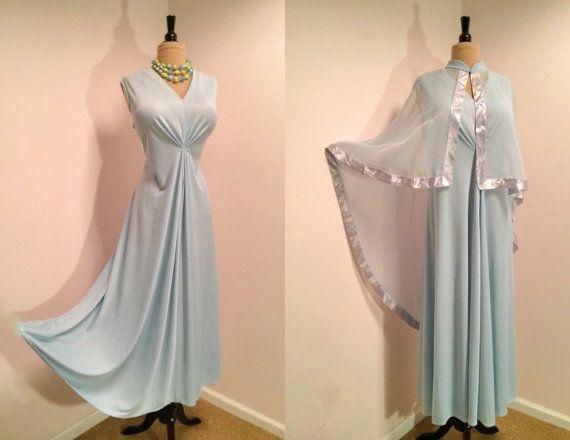 Vintage 1970s Plus Size Disco Dress 70s Light Blue Maxi Dress