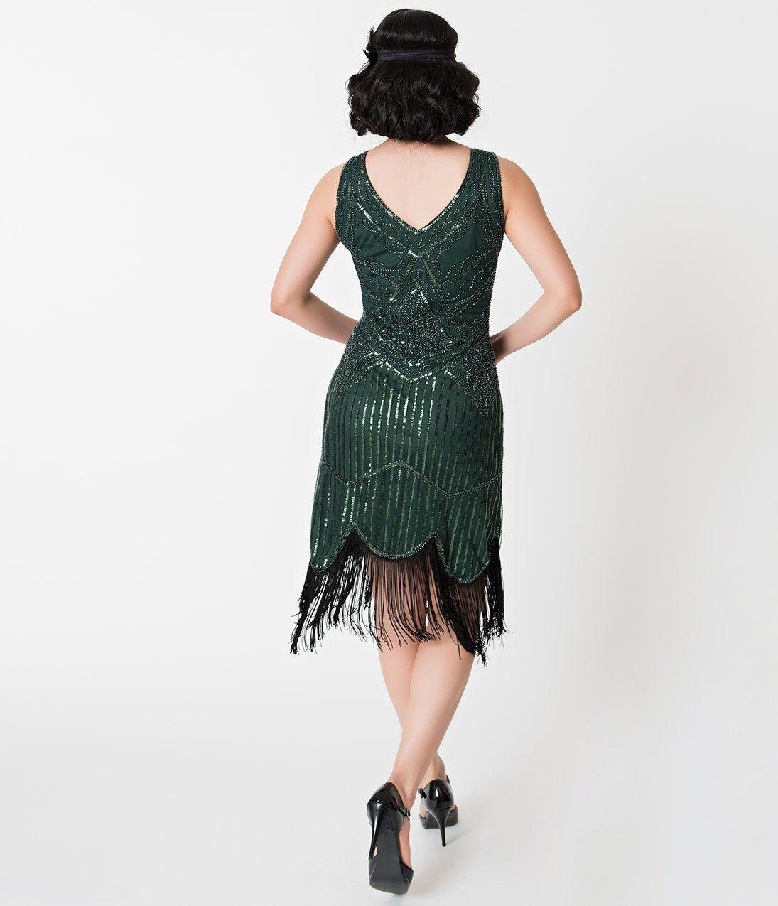 Emerald green beaded fringe leonie flapper dress