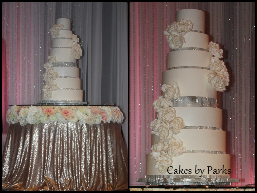 white wedding cake with bling