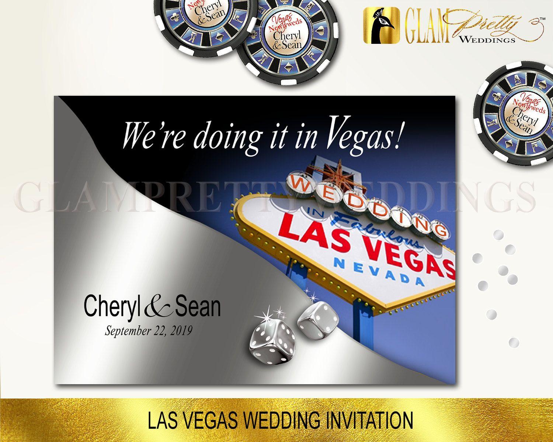 las vegas wedding invitations vegas wedding invitations Las Vegas Wedding Invitation silver blue by GlamPrettyWeddings