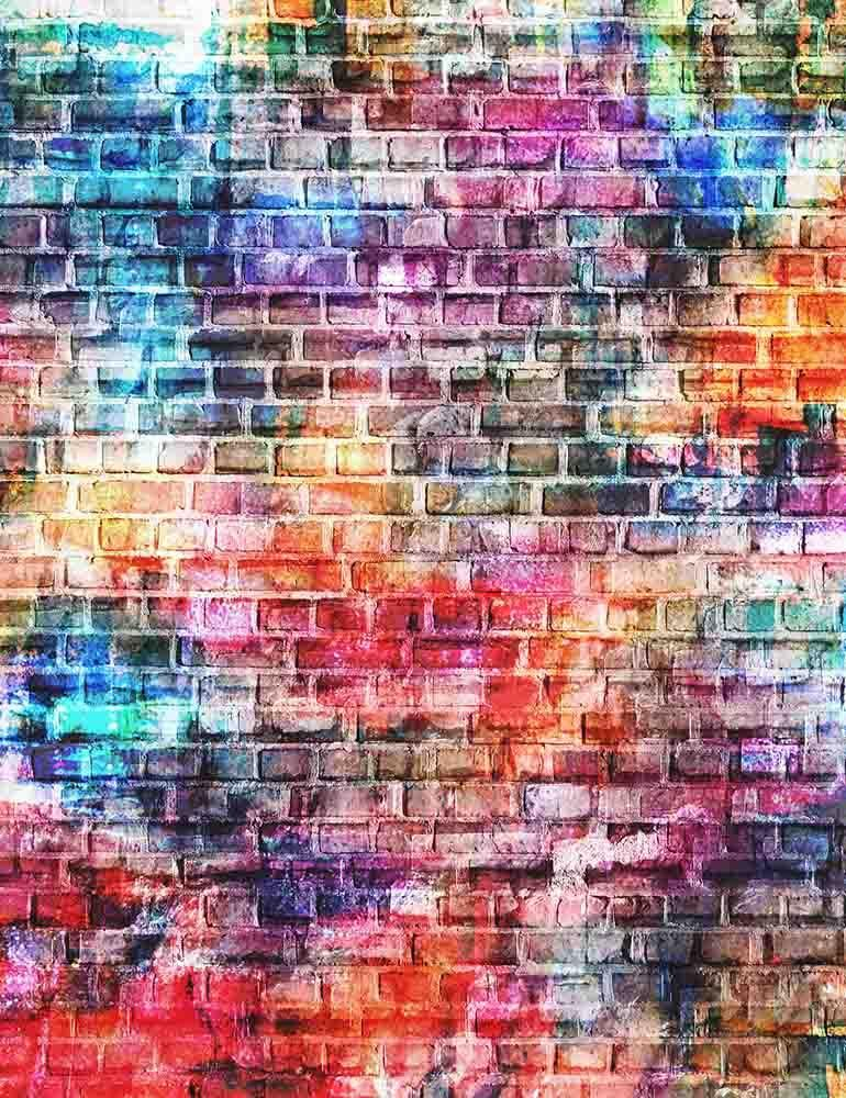 Colorful Painted Brick Wall Texture Photography Backdrop J 0478 In