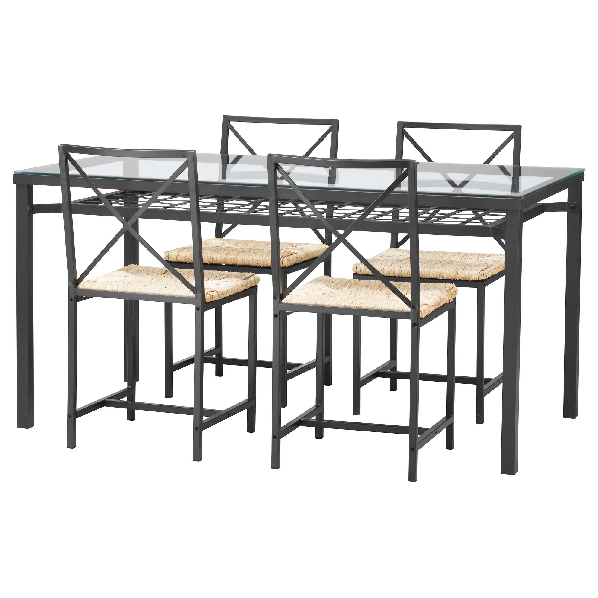 Glass Table And 4 Chairs At Ikea For 180 Theres A Shelf Underneath