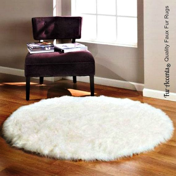 Thick Plush Shag Round Area Rug Premium Faux Fur Soft