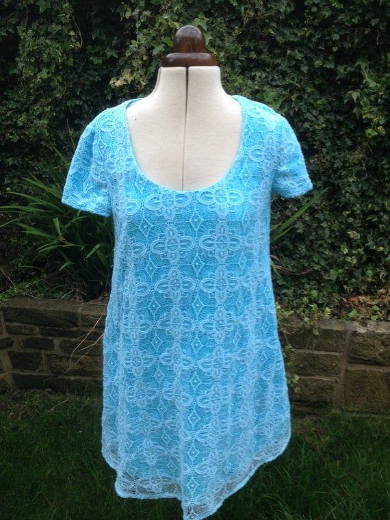 Vintage Summer Dress  Hand Dyed, Crochet work shift dress, Retro Dress, Beach Dress, Romantic Dress #crochetbeachdress