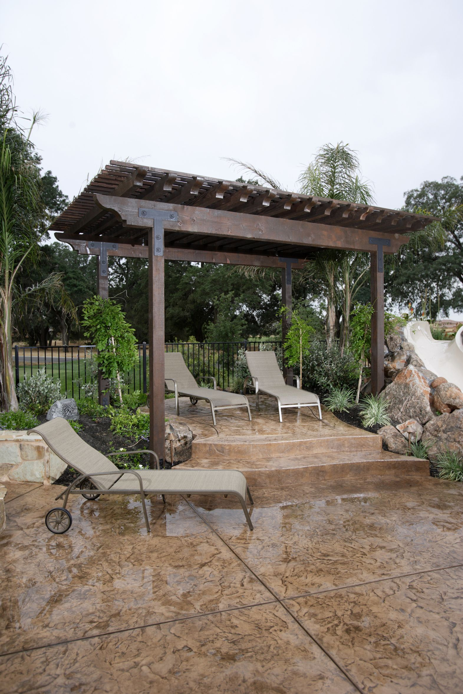 Pergola And Stamped Concrete Super Sweet