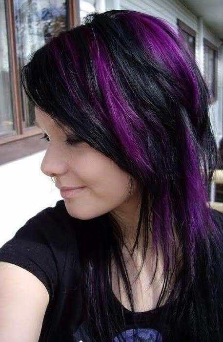 Black Hair Purple Peekaboo Anything At All Pinterest