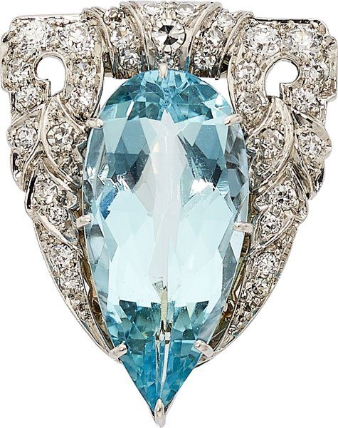 Aquamarine, Diamond, Platinum Clip The clip features a pear-shaped faceted-top aquamarine measuring 21.00 x 10.28 x 7.18 mm and weighing approximately 7.95 carats, enhanced by European and single-cut diamonds weighing a total of approximately 0.60 carat, set in platinum. Gross weight 8.80 grams. Dimensions: 1 inch x 13/16 inch