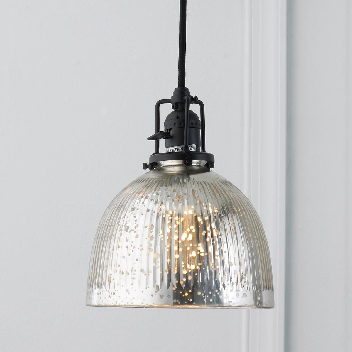 Ribbed Dome Mercury Glass Shade Pendant Light Home