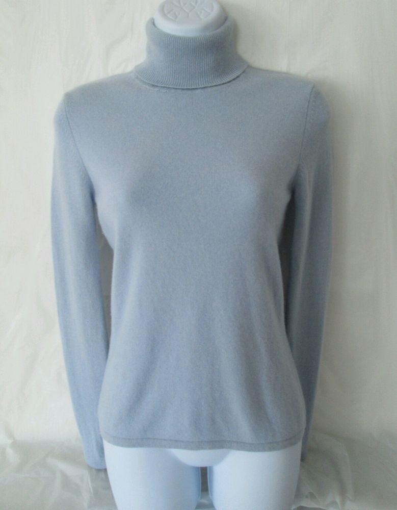 Womens 100% Cashmere Turtleneck Sweater S Light Blue MAG ...