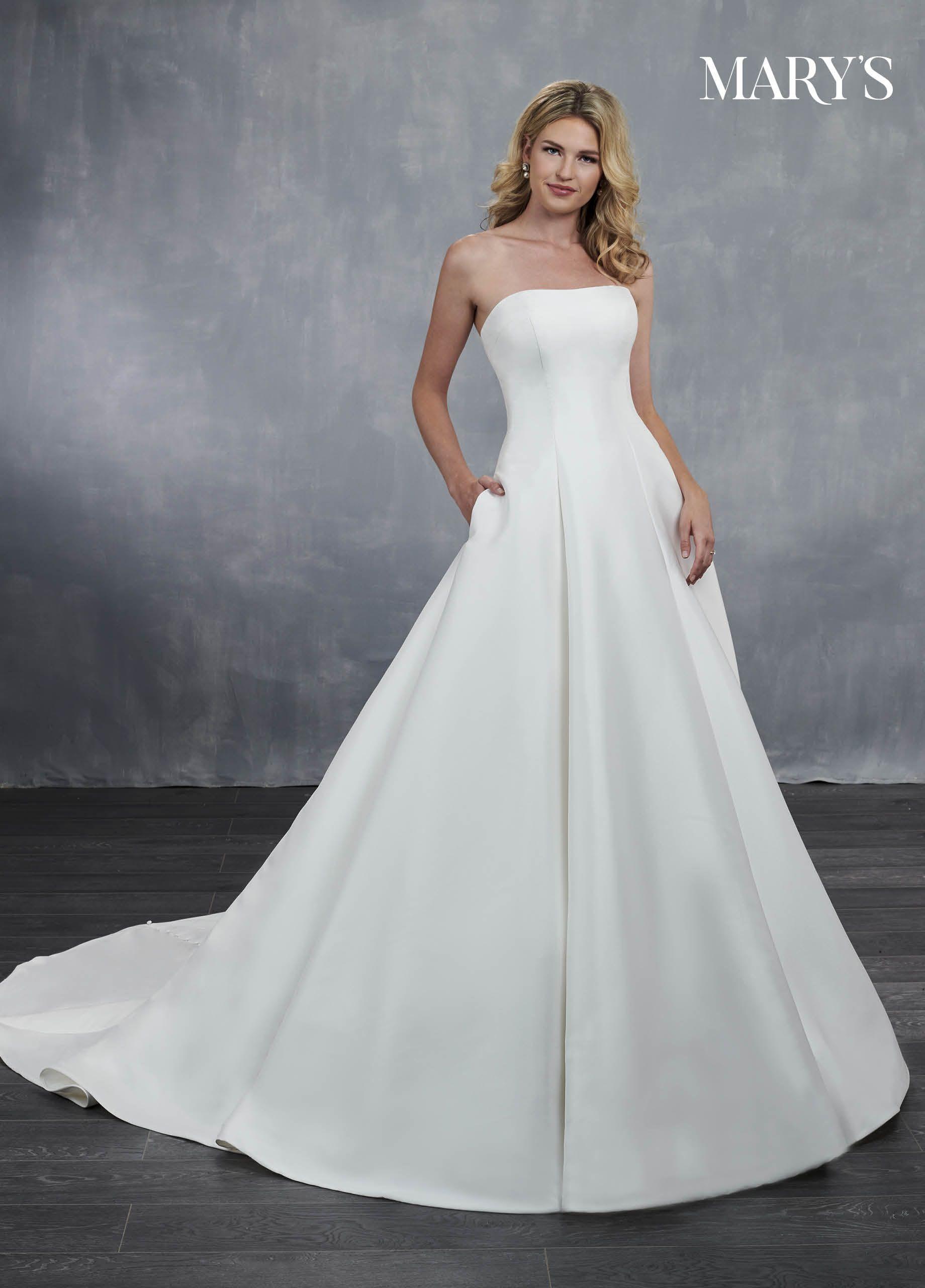 5cc28b503a Classic mikado wedding dress with a strapless neckline