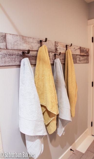 reclaimed wood and galvanized hooks for towels // suburban bitches. Year of Change Challenge July & A Year of Change July Reveal | Year of Change Challenge | Pinterest ...