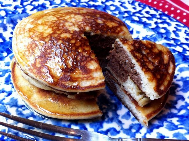 Cocoa Surprise Almond Flour Pancakes.  These were delicious (I subbed coconut milk for the cream/whole milk and didn't use the honey, but I'm sure that would have made them even more tasty!)