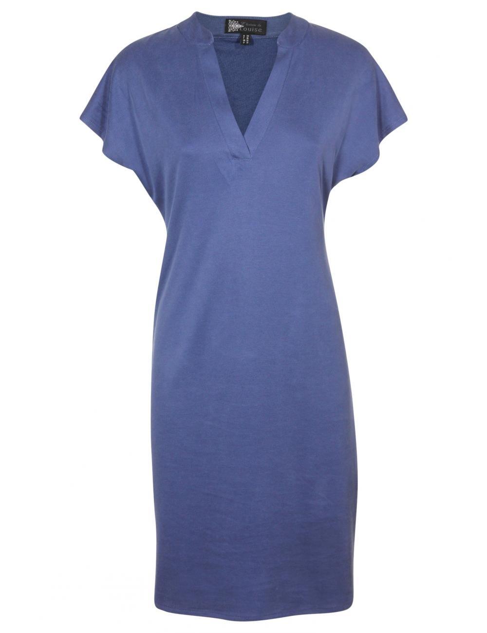 79000d877a9cd5 Vergroot - Blauw gecentreerd kleedje met v-hals