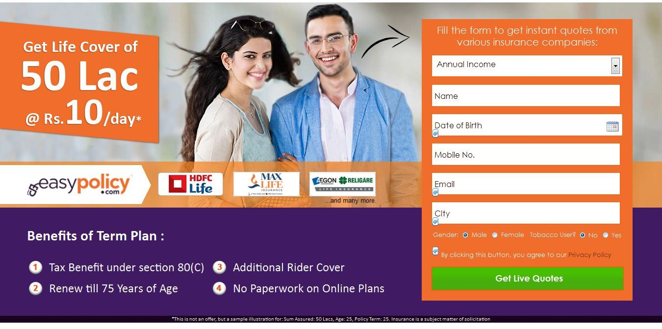 Get Life Cover of 50 Lac @Rs 10/day | Online life ...