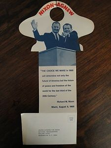 Nixon Agnew Campaign Button | Nixon Agnew Door Hanger 1968 Presidentail  Campaign. Not Beautiful .
