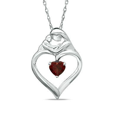 Heart Shaped Garnet Motherly Love Pendant In Sterling