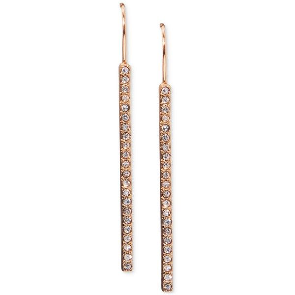 Lauren Ralph Lauren Rose GoldTone Pave Stick Linear Drop Earrings