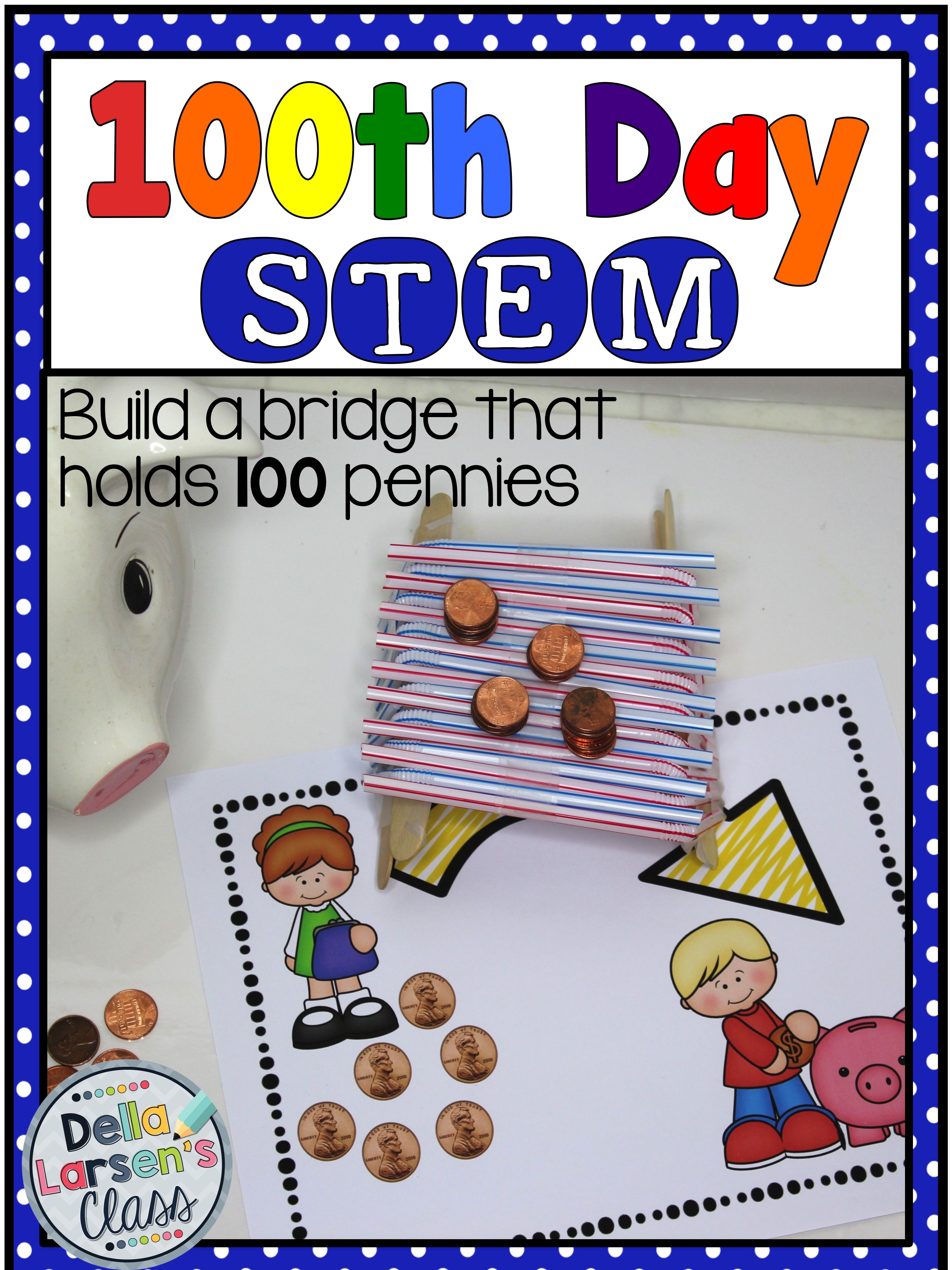 Celebrate 100 Days Of School With A Fun Stem Challenge This Works Well With Kindergarten First Grade And Second 100 Days Of School Stem Challenges 100th Day