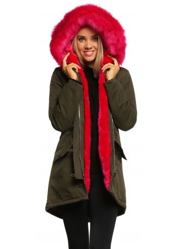 Designer Desirables Khaki Hooded Parka Lined With Luxe Hot Pink ...