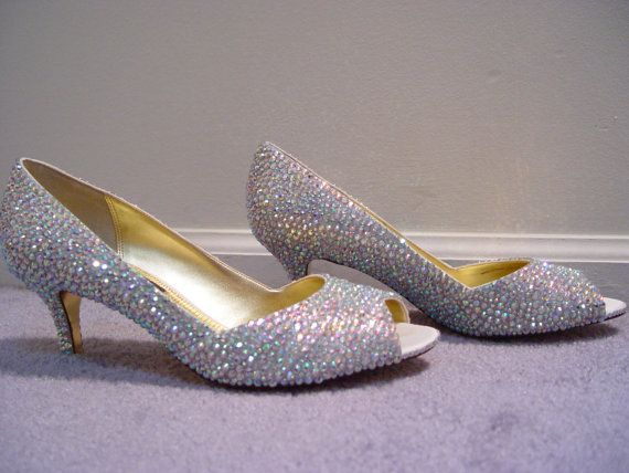 Hand Made Womens Louboutin Style Iridescent Rhinestone Low Heel Shoes On Etsy 189 00
