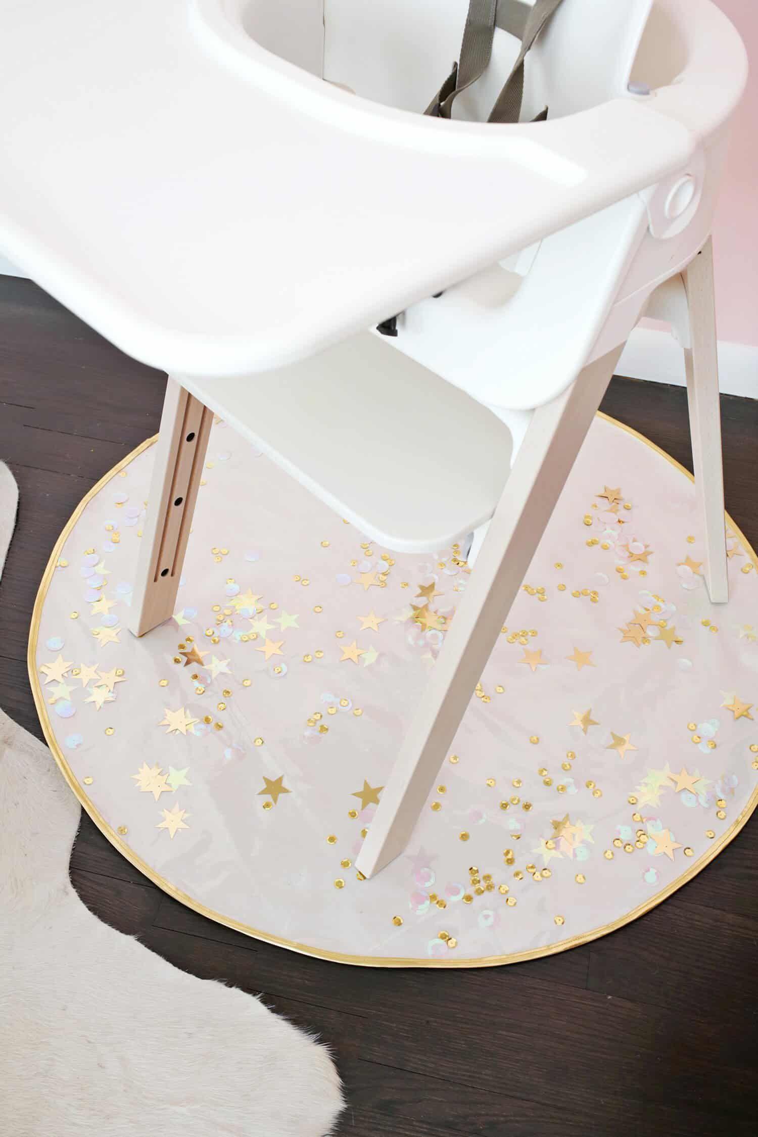 Sequin Confetti High Chair Mat DIY High chair mat, Chair