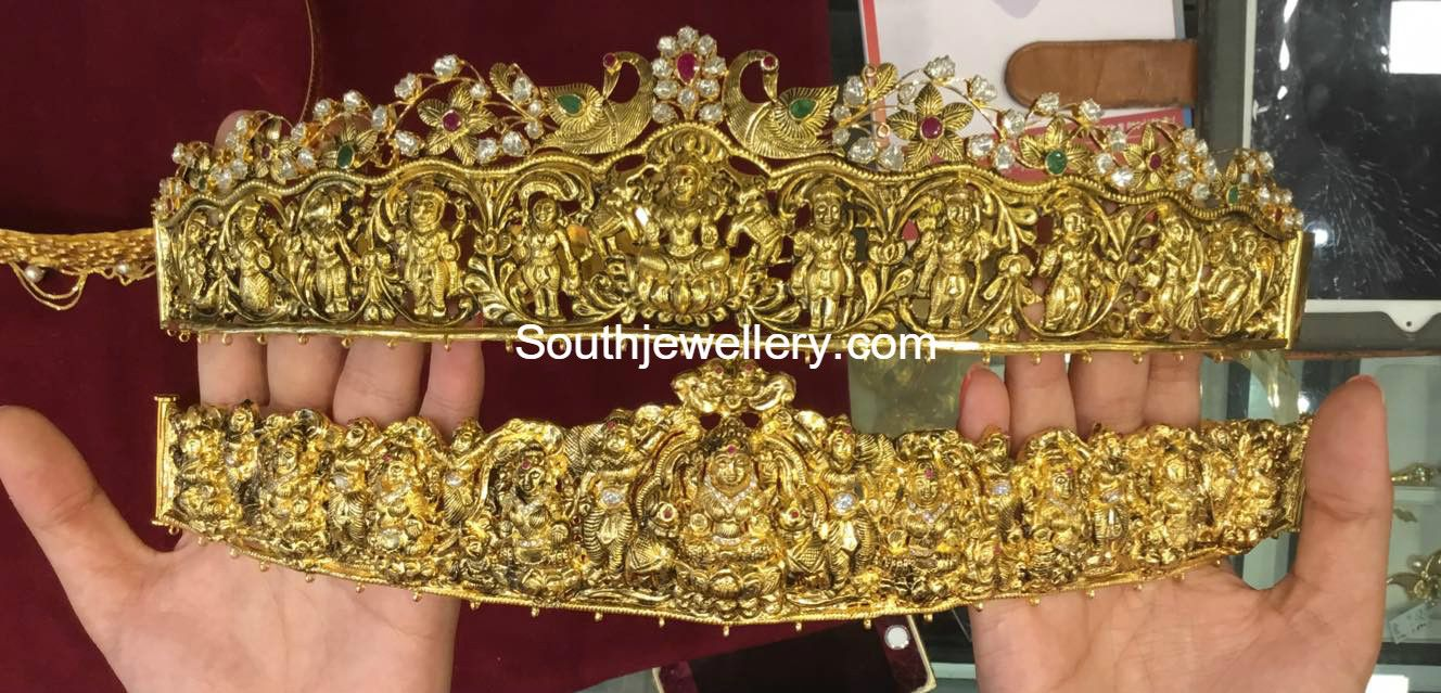 Gold vaddanam oddiyanam kammarpatta waisbelt designs south indian - Gold