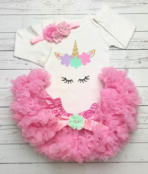 82f46ab09 Unicorn First Birthday Outfit, First Birthday Outfit Girl Unicorn, Unicorn  Birthday outfit, Pink and